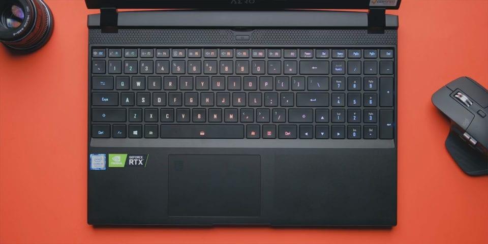 Gigabyte Aero 15 OLED notebook keyboard layout