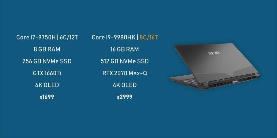 Gigabyte Aero 15 OLED notebook specs comparison