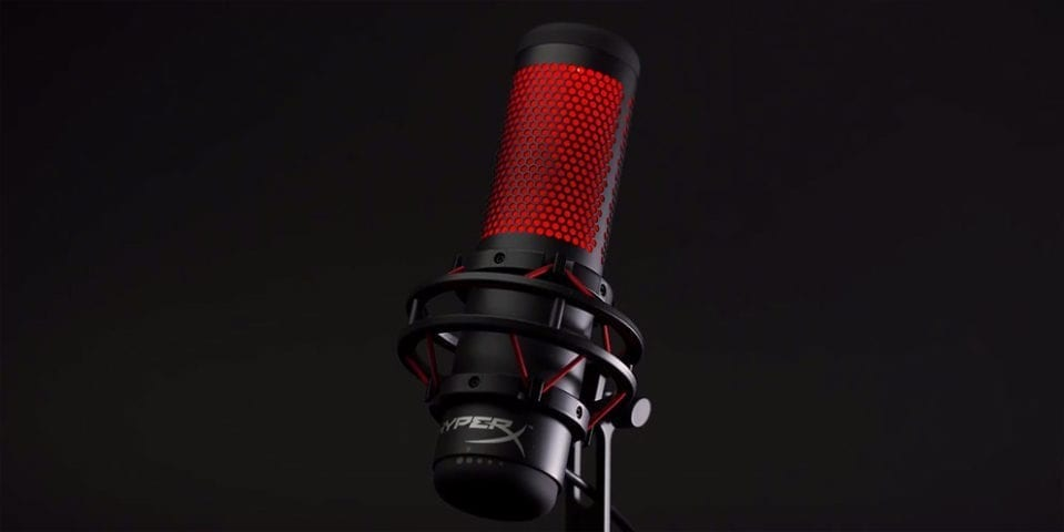 HyperX Quadcast USB Streaming Microphone on black background