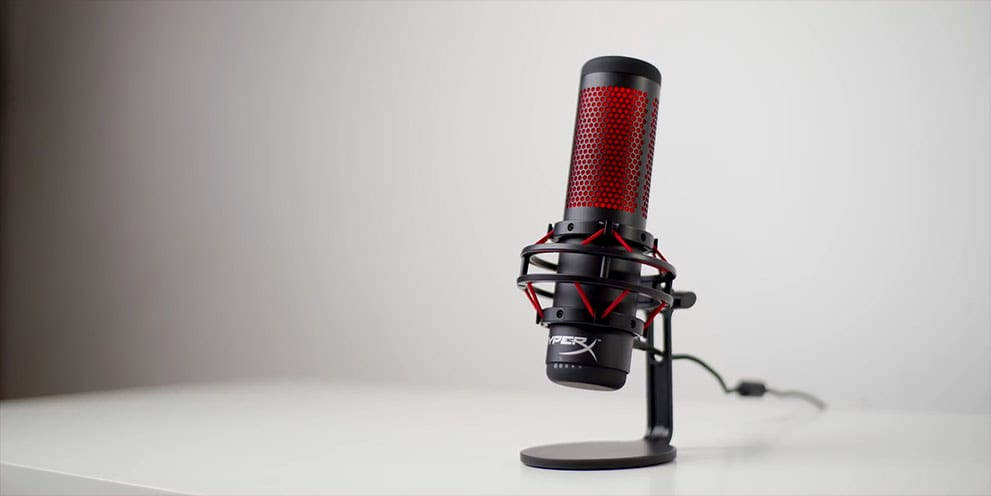 HyperX Quadcast USB Streaming Microphone on desk