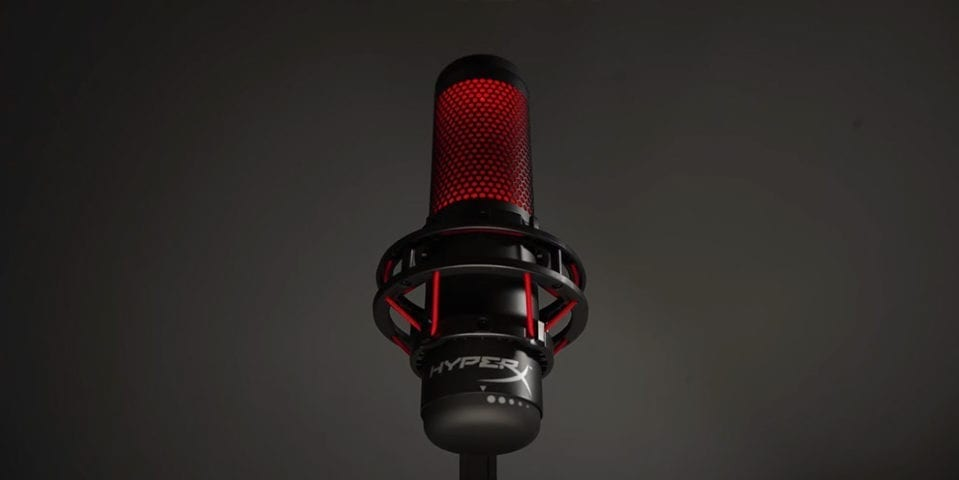 Illuminated turn on HyperX Quadcast USB Streaming Microphone