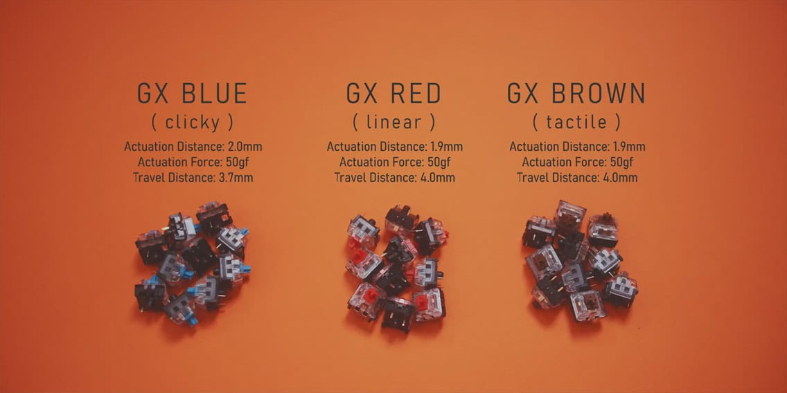 Logitech GX Blue Red Brown key caps