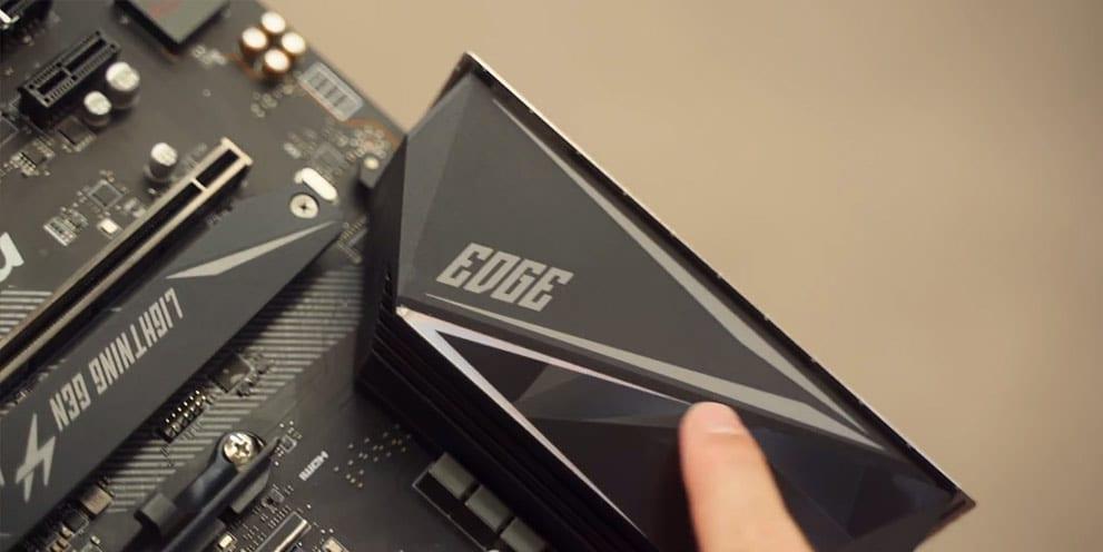 MSI MPG X570 Gaming Edge Wi-Fi logo closeup