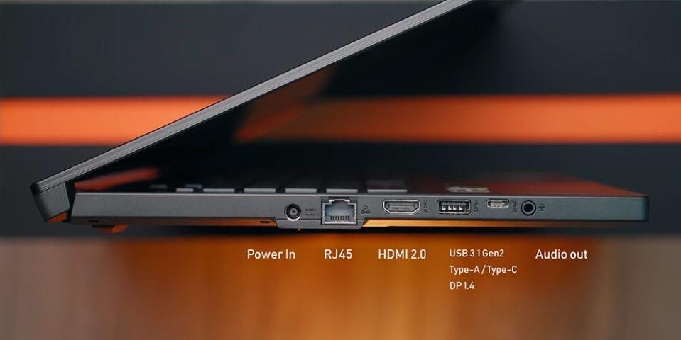 ports HDMI USB3.1 Asus Ryzen RoG Zehyrus GA502D notebook